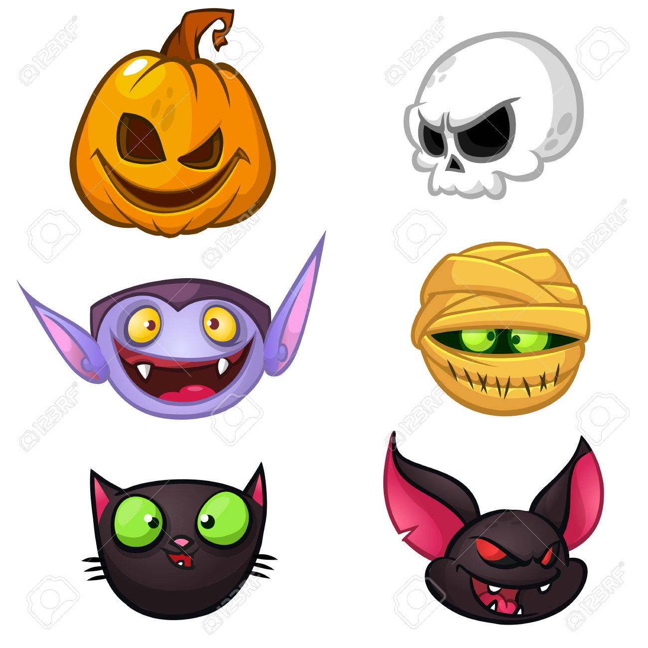 halloween characters icon set cartoon heads of pumpkin death