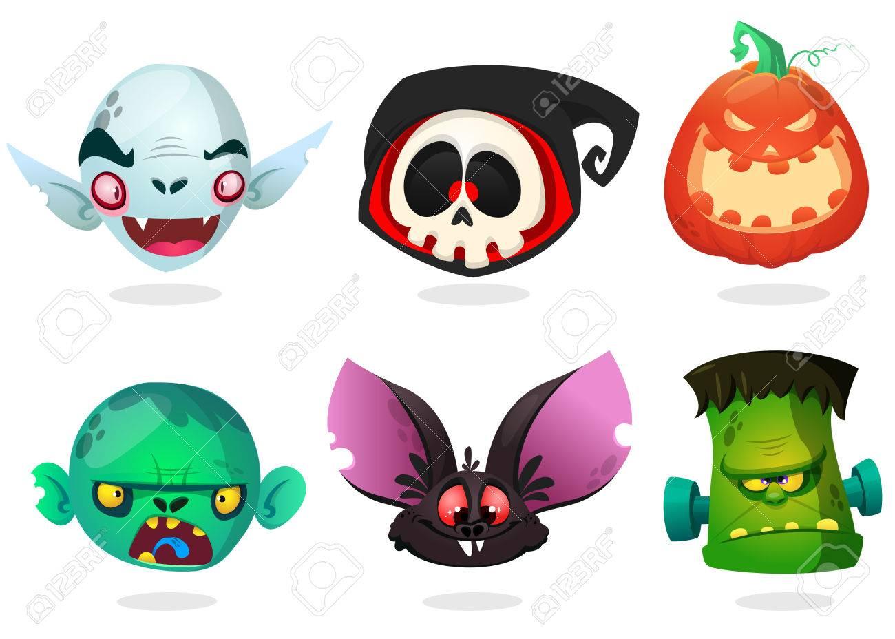 halloween characters icon set cartoon heads of grim reaper black
