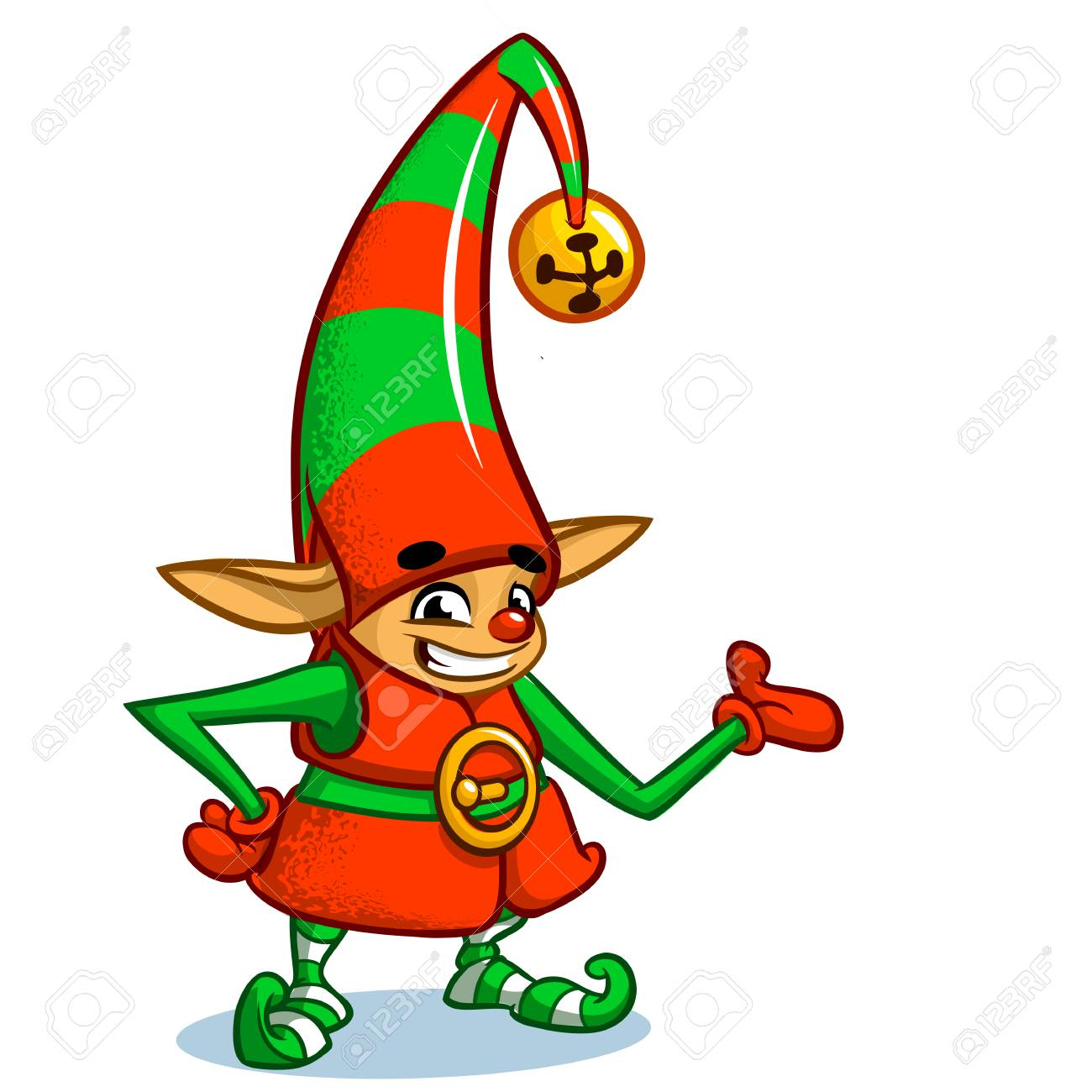 Christmas Elf Character In Santa Hat. Illustration Of Christmas ...