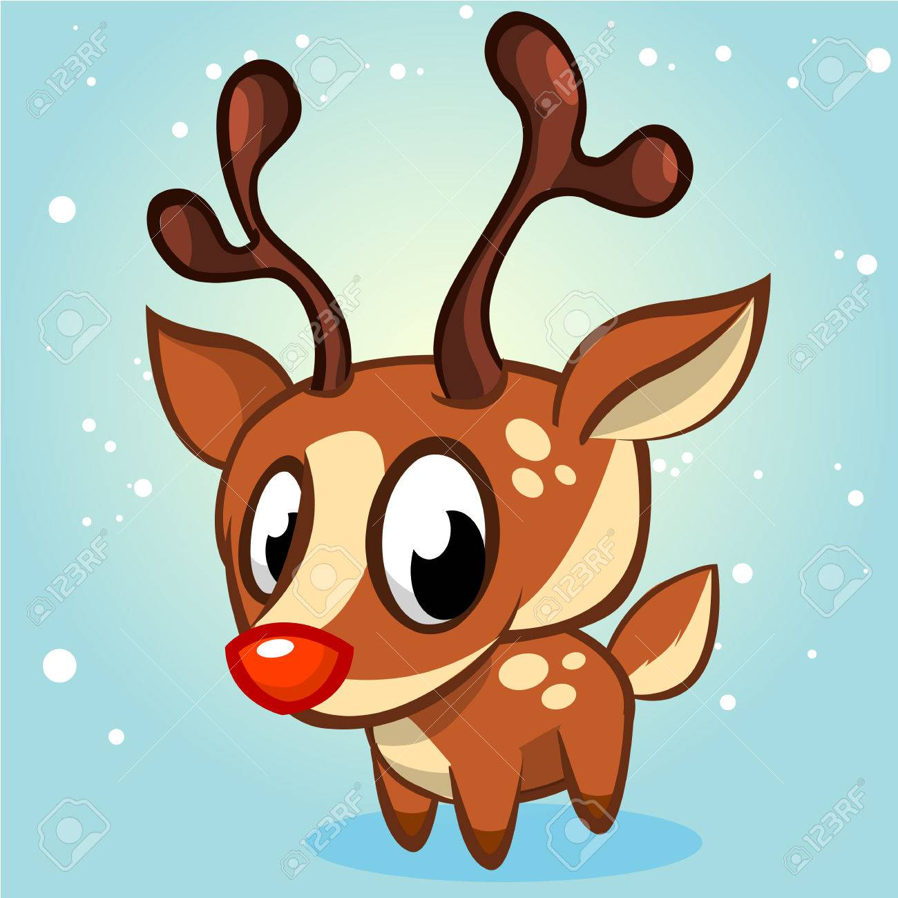 Cute Christmas Reindeer Vector Illustration On White Background Stock
