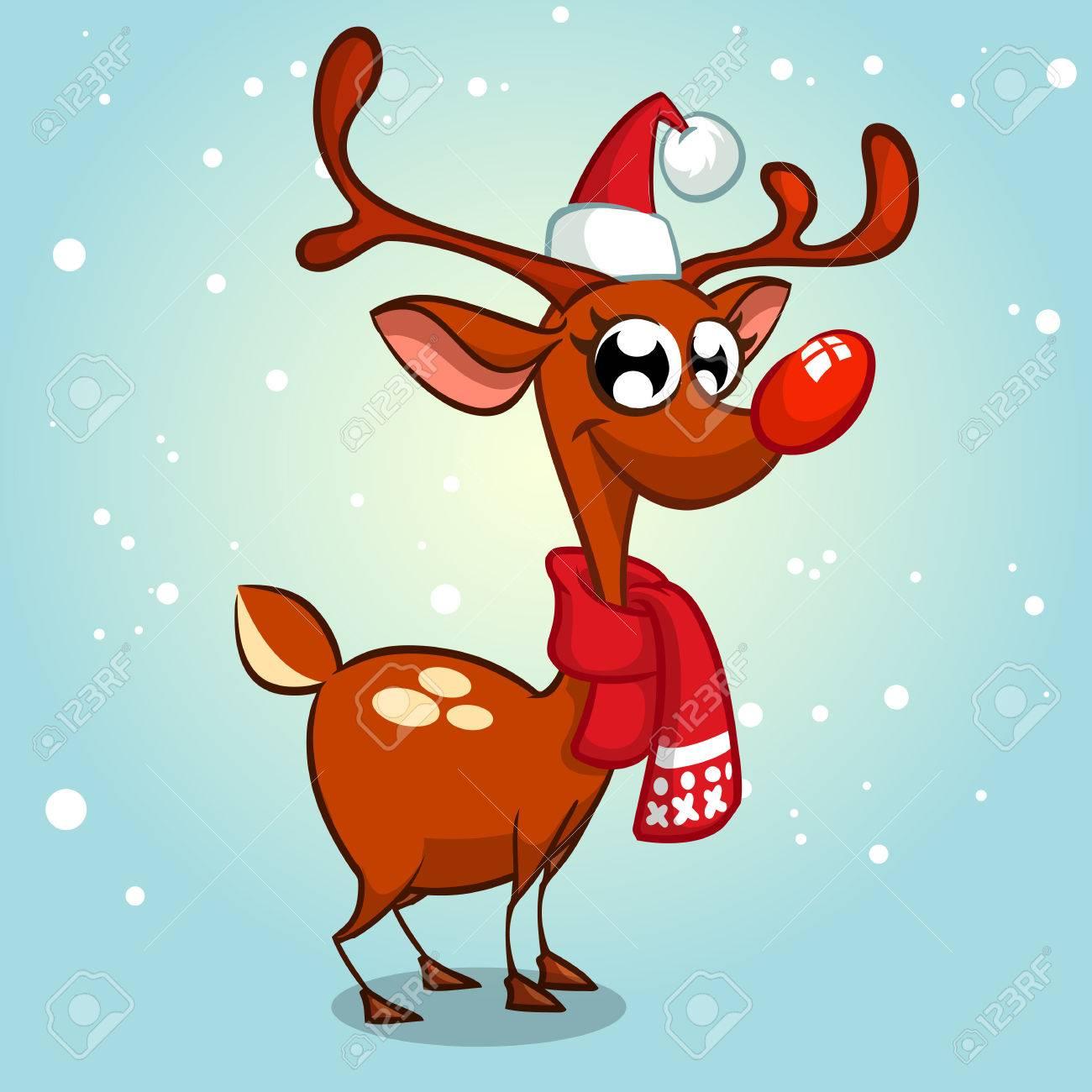 Les Renne Du Pere Noel.Noël Renne Père Noël Vecteur Illustration Neigeux Fond