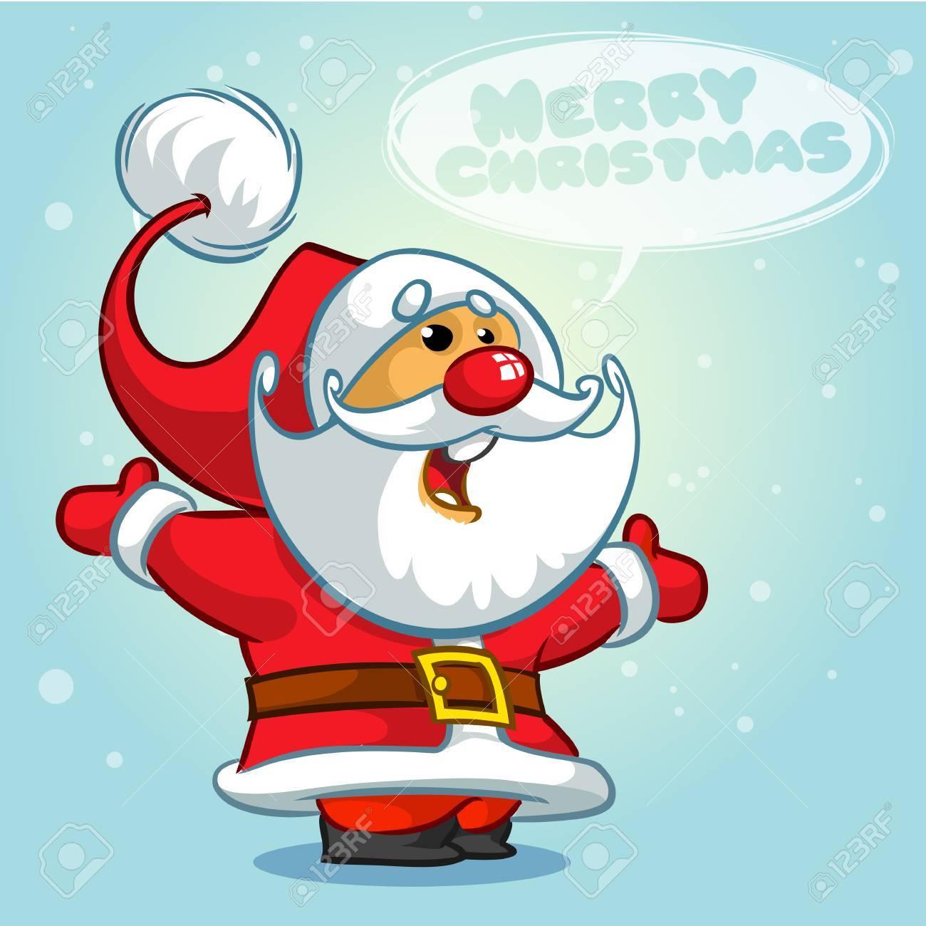Weihnachten Santa Claus Mit Blase. Grußkarte Hintergrund Poster ...