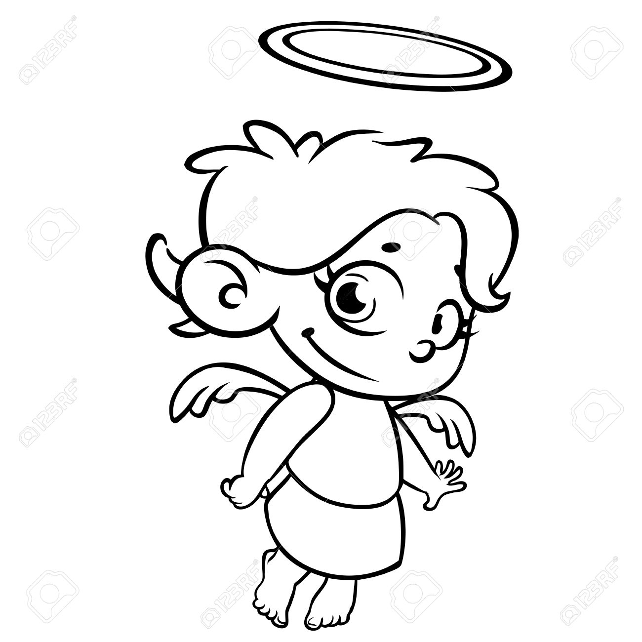 Outlined Christmas Angel. Coloring Page Royalty Free Cliparts ...