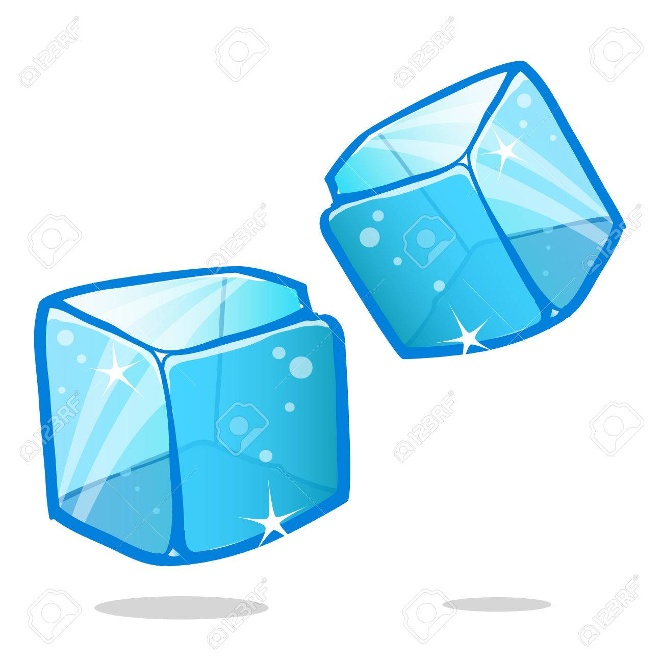 Ice Cubes And Melted Ice Cube Vector Set On White Background Royalty Free Cliparts Vectors And Stock Illustration Image 66806952