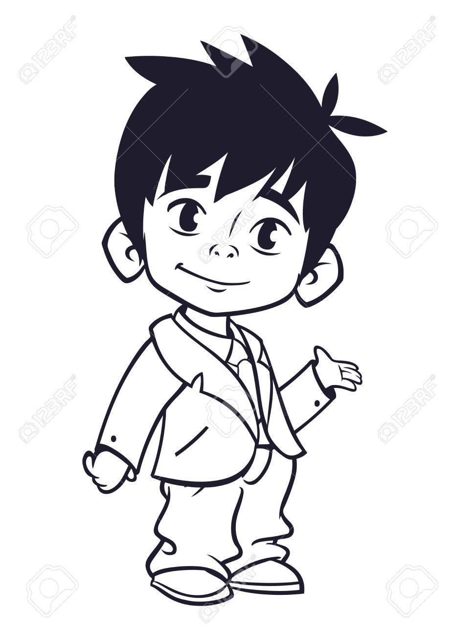 Ilustración Vectorial De Niño Pequeño En La Ropa Del Hombre Esboza ...
