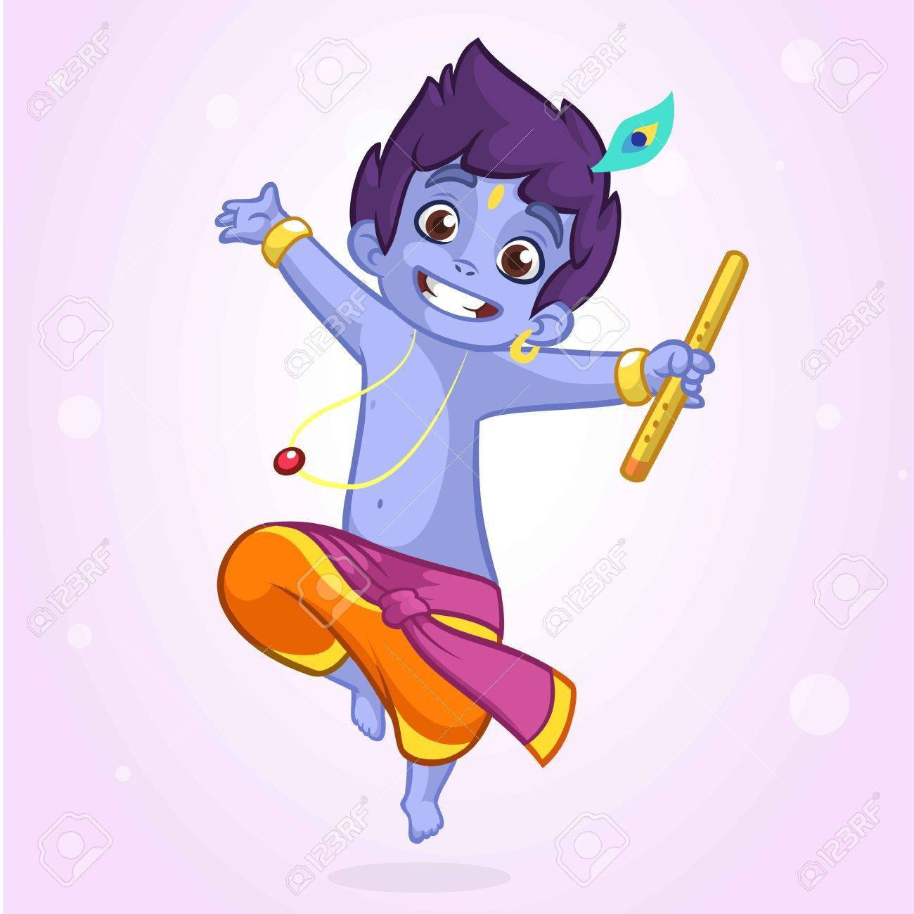 Little cartoon krishna with a flute greeting card for krishna little cartoon krishna with a flute greeting card for krishna birthday vector illustration isolated kristyandbryce Gallery