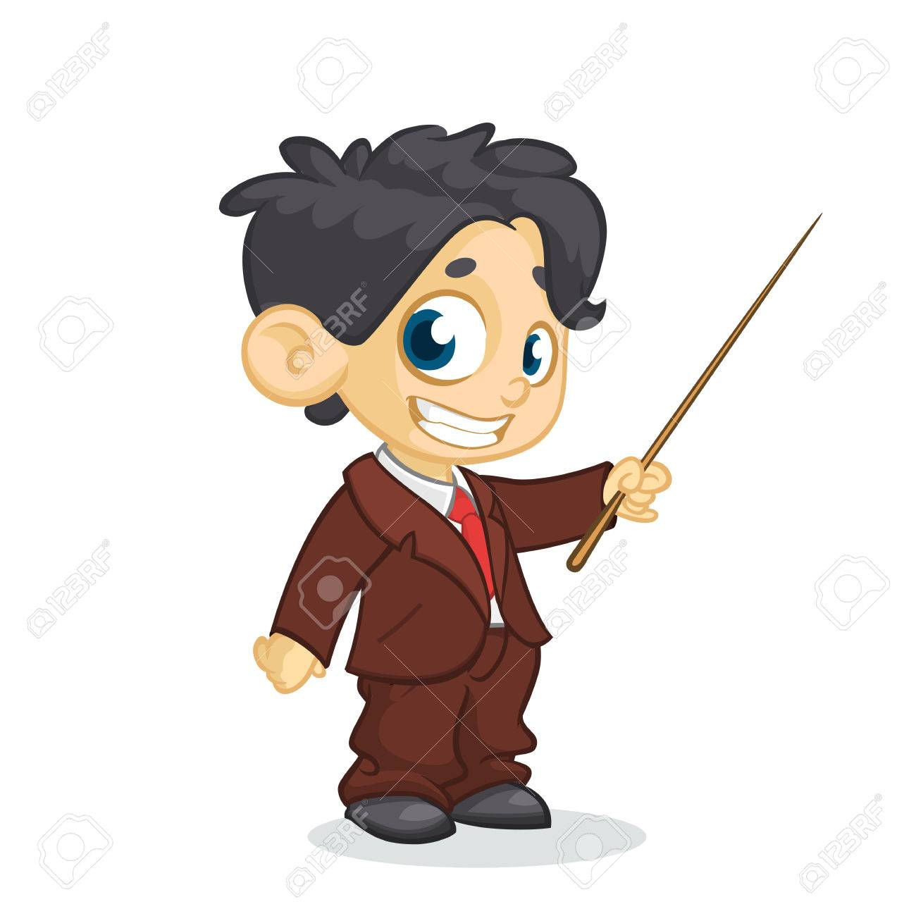 Cartoon Little Cute Boy Character Presenting With A Pointer