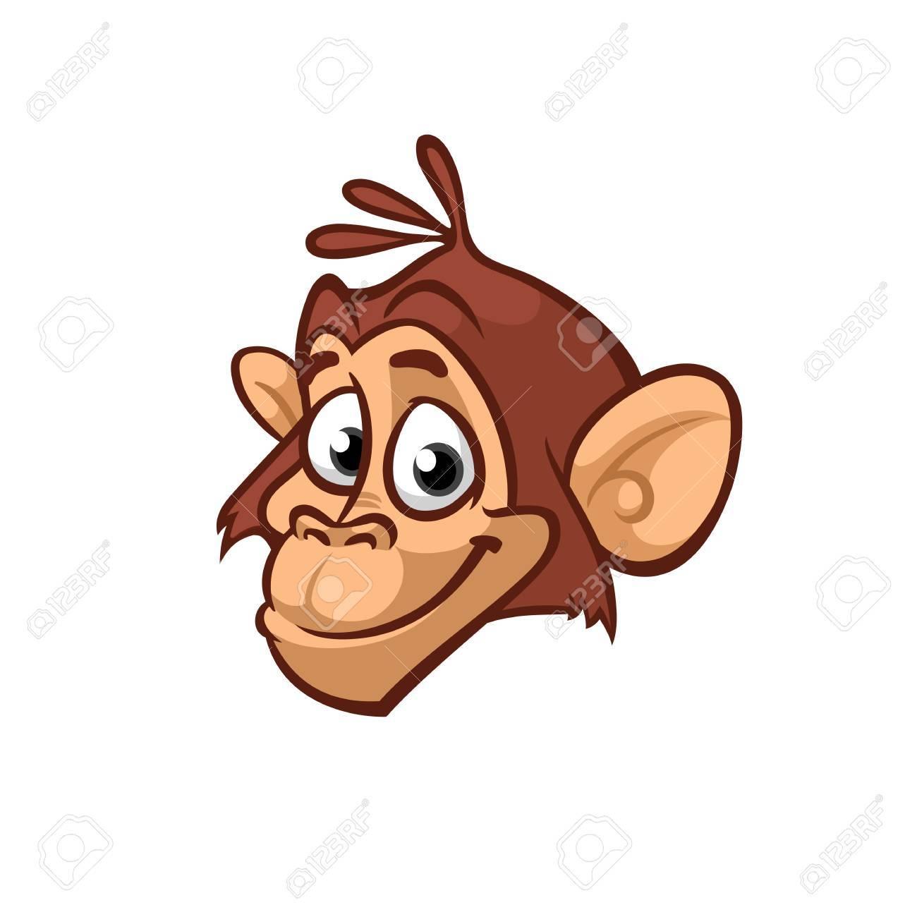cartoon monkey head icon vector isolated royalty free cliparts rh 123rf com cartoon monkey head drawing cartoon monkey scratching head