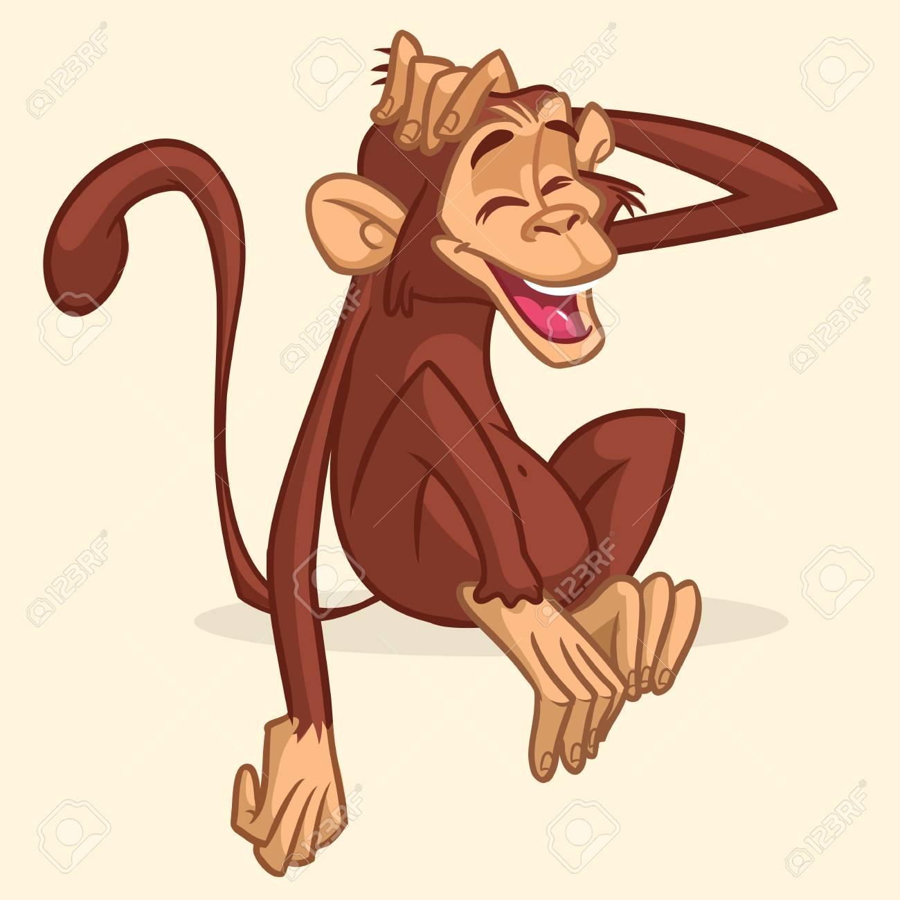 Vettoriale Disegno Simpatico Cartone Animato Di Una Scimmia