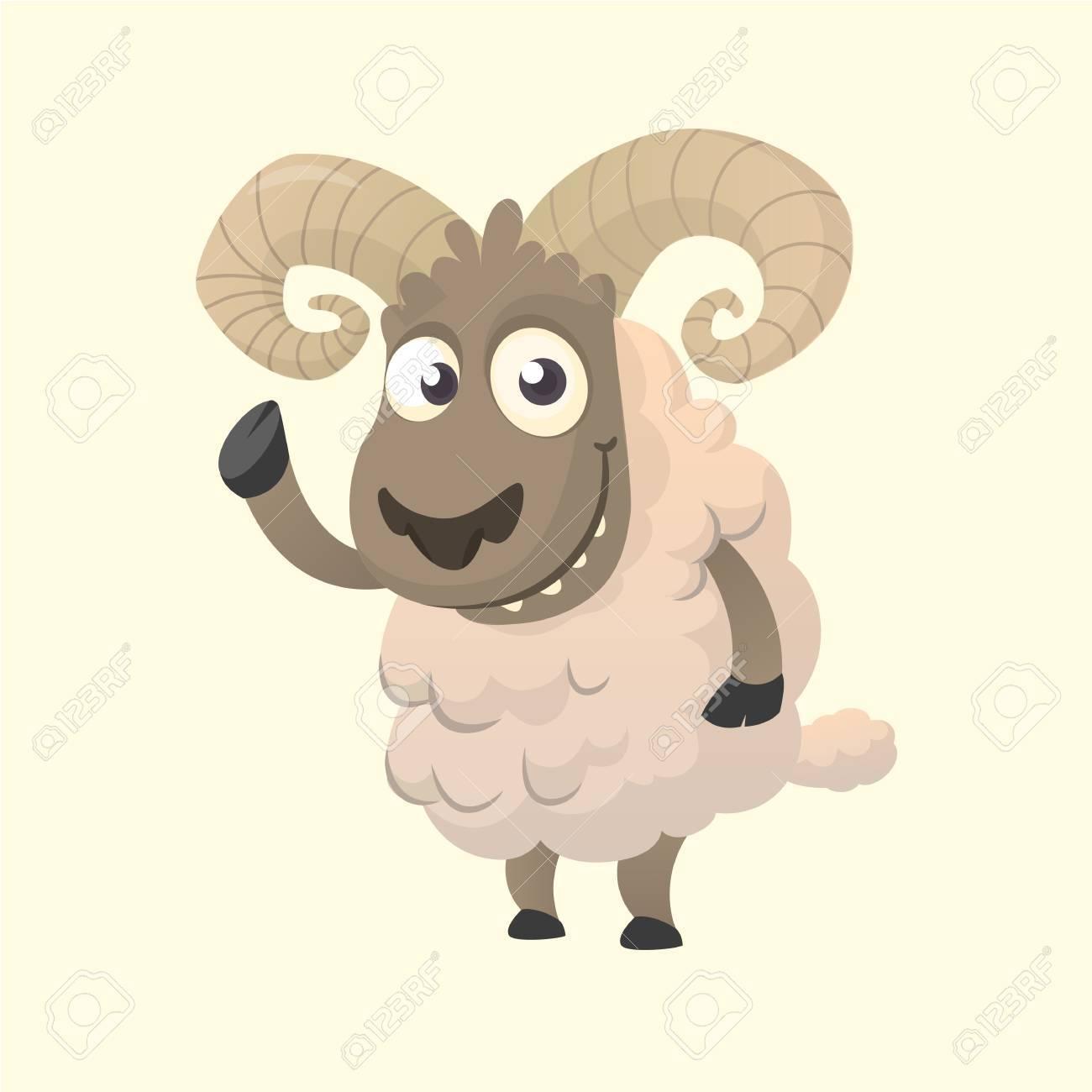 かわいい漫画の羊のマスコット キャラクター手を振ってふわふわ羊の