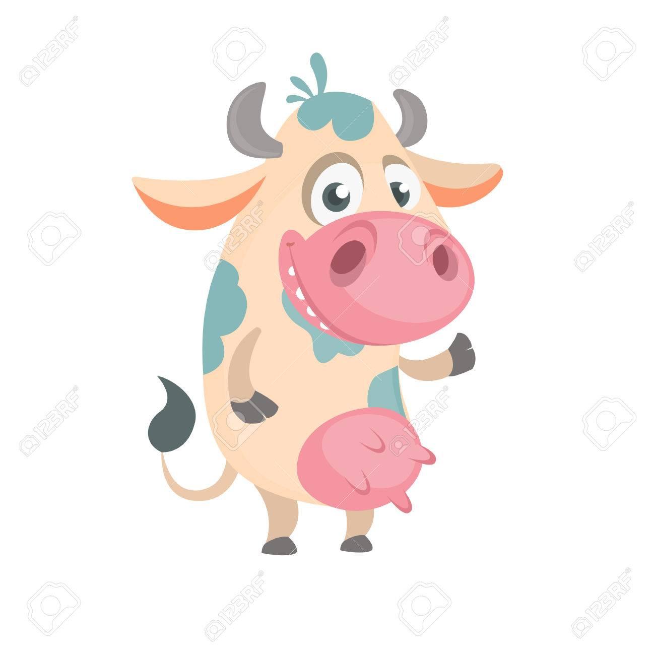 Dessin Anime Mignon Vache Tachetee Blanche Debout Et Souriant Illustration Vectorielle D Une Mascotte D Icone De Vache Isolee Sur Fond Blanc Ideal