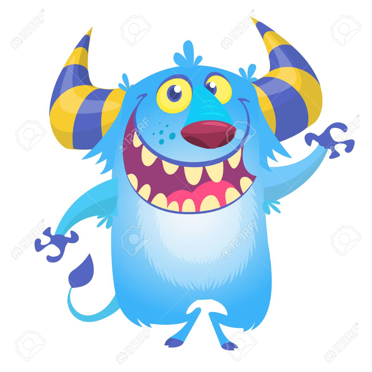 cute fluffy blue monster yeti vector bigfoot character royalty free rh 123rf com