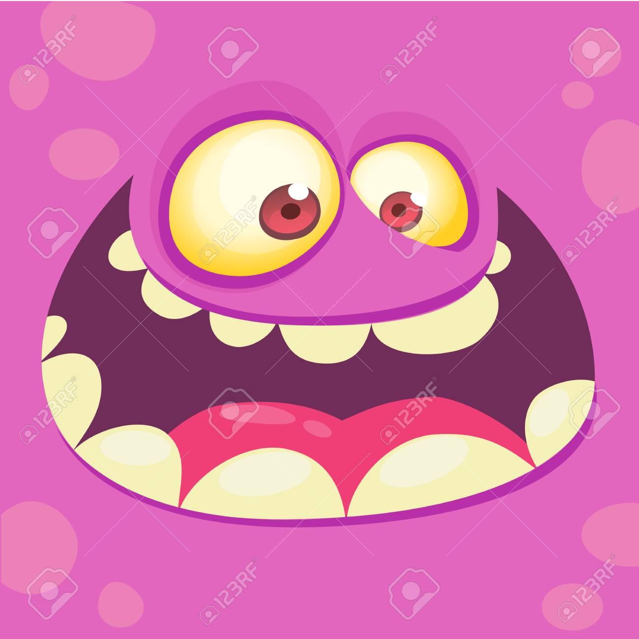cartoon monster face. vector halloween pink monster avatar with