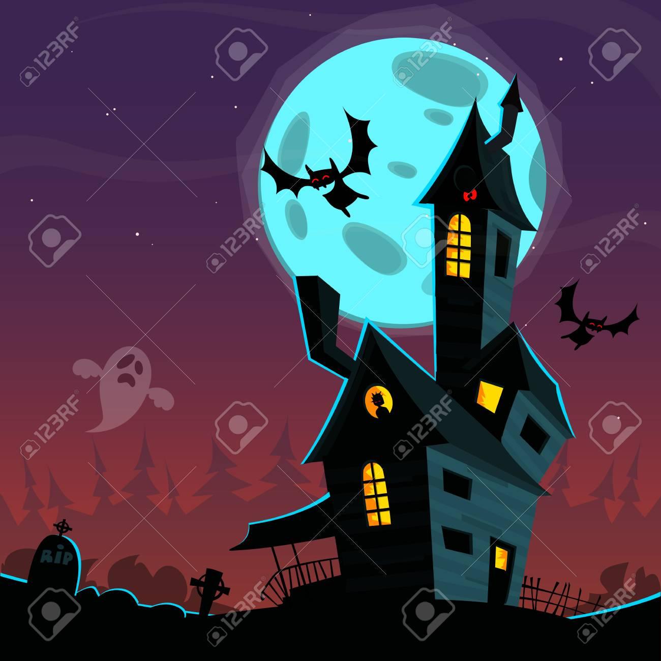 Dessin Animé Maison Hantée Effrayante Illustration De Fond Pour Le Vecteur Halloween