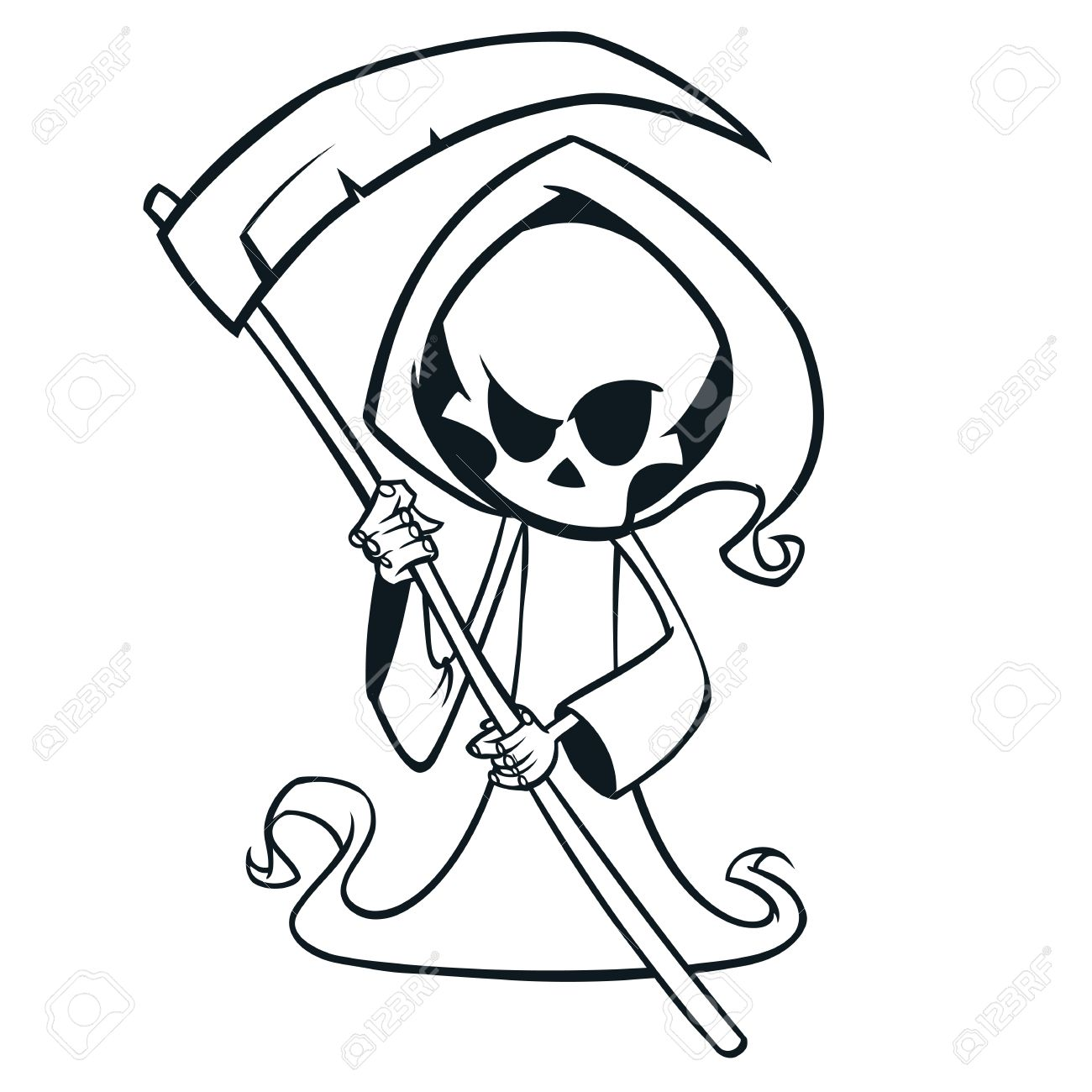 Cute Cartoon Grim Reaper With Scythe Isolated On White Cute Royalty Free Cliparts Vectors And Stock Illustration Image 85681064