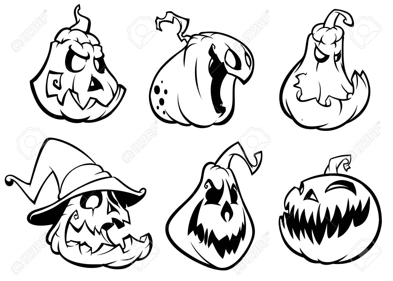 Citrouilles d\u0027Halloween incurvées avec le visage de jack o lantern.  Illustration de dessin animé de vecteur. Coups et contours