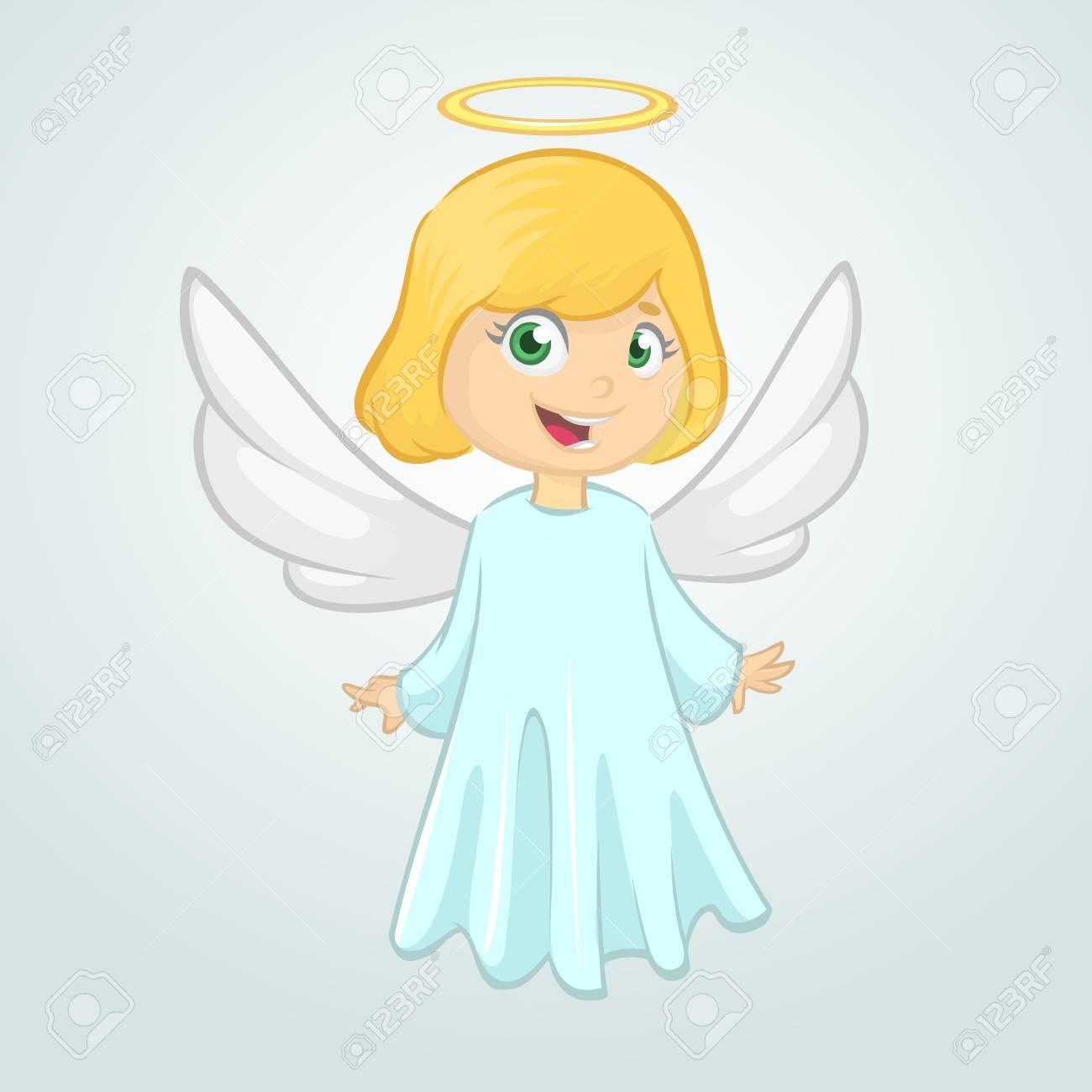 Christmas Angel.Cute Happy Christmas Angel Cartoon Character Illustration