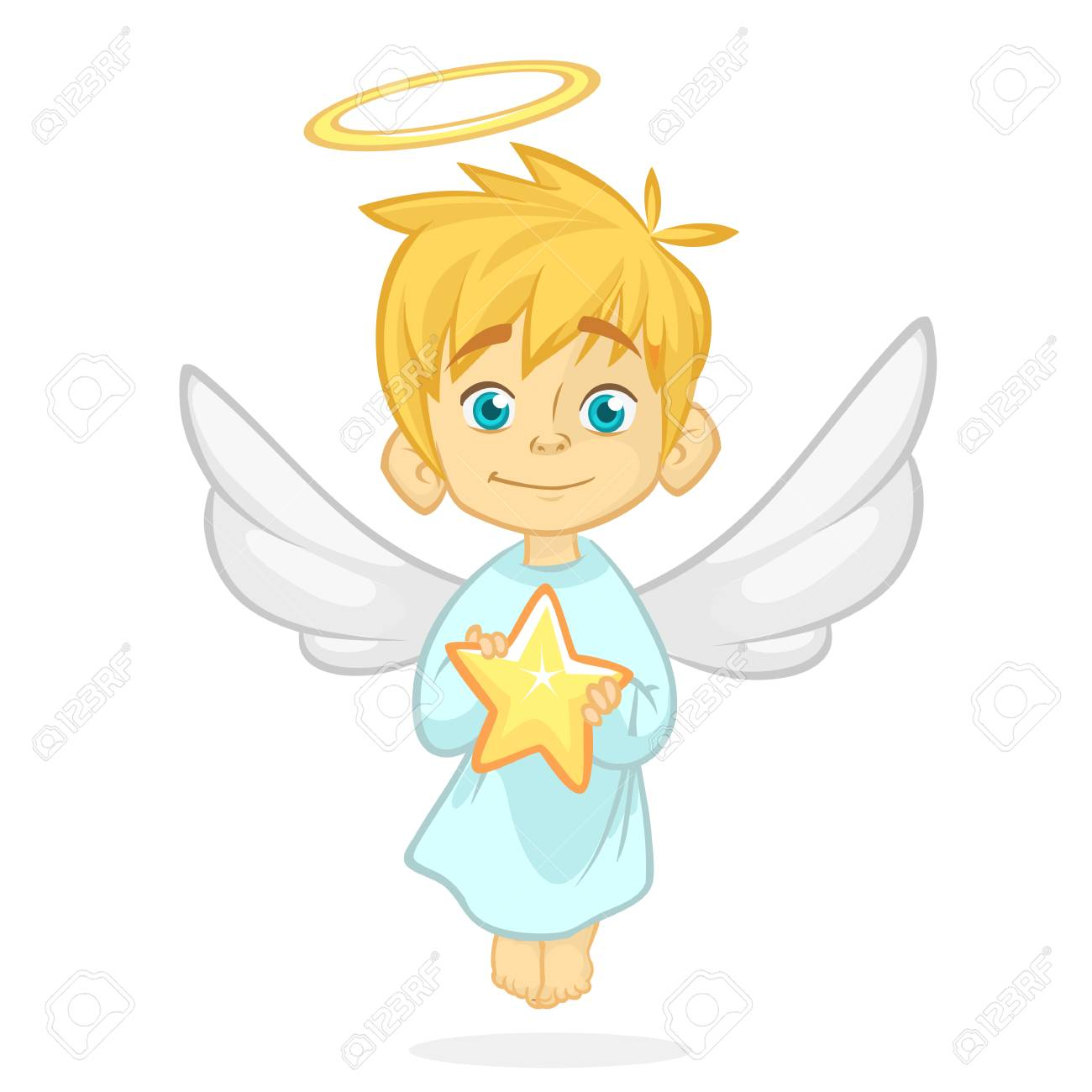 Cute Cartoon Angel Holding A Star Christmas Cartoon Vector Royalty Free Cliparts Vectors And Stock Illustration Image 90852098
