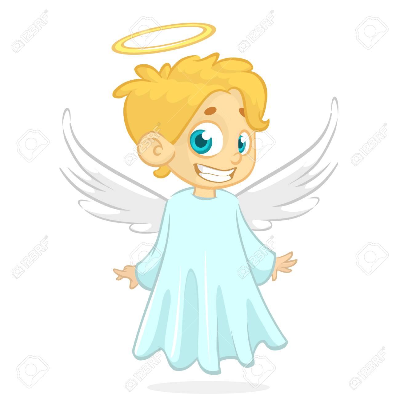 Christmas Angel.Vector Cartoon Illustration Of Christmas Angel With Nimbus And