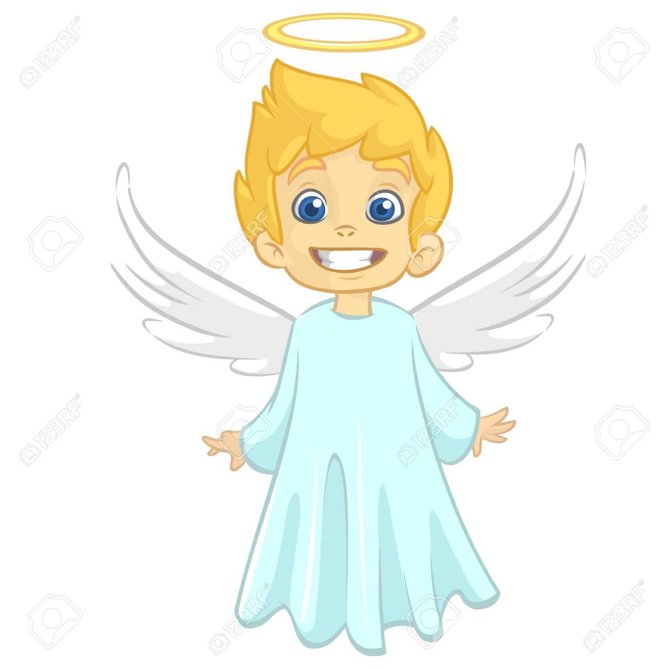 Illustration De Dessin Animé De Vecteur De Noël Ange Avec Nimbus Et Ailes
