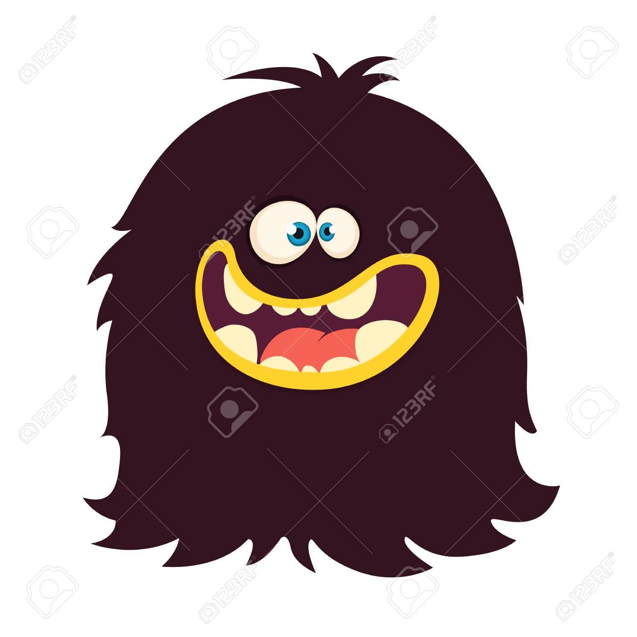 Happy Cartoon Black Monster Vector Halloween Illustration Big Set Of Cartoon Monsters Stock Vector