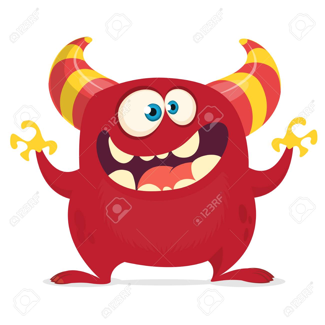 Cool Cartoon Monster With Horns And Big Mouth Vector Red Monster Royalty Free Cliparts Vectors And Stock Illustration Image 104064155