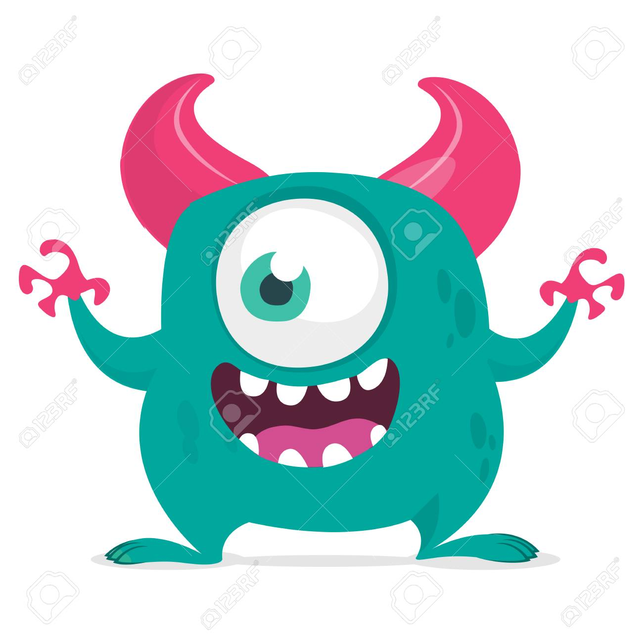 Funny Cartoon Monster With One Eye Vector Blue One Eyed Monster Royalty Free Cliparts Vectors And Stock Illustration Image 104064156