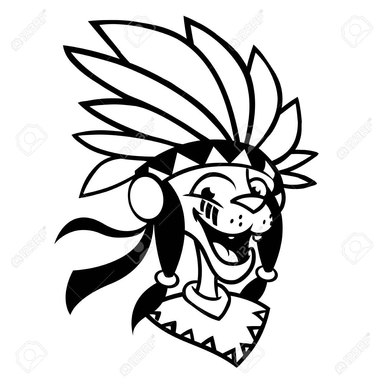 Cartoon Native American Character Coloring Book Vector Illustration