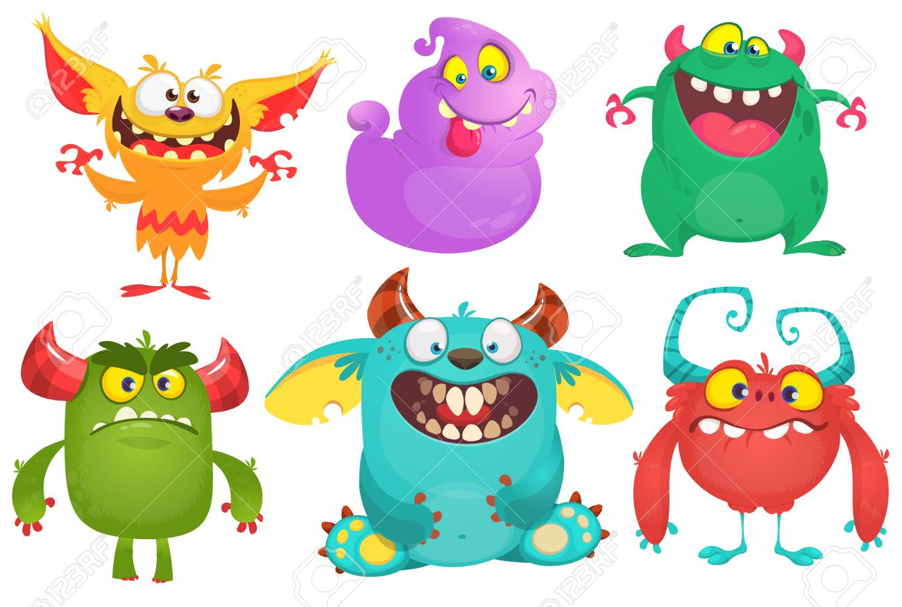 Cartoon Monsters collection. Vector set of cartoon monsters isolated. Design for print, party decoration, t-shirt, illustration, logo, emblem or sticker - 119839888