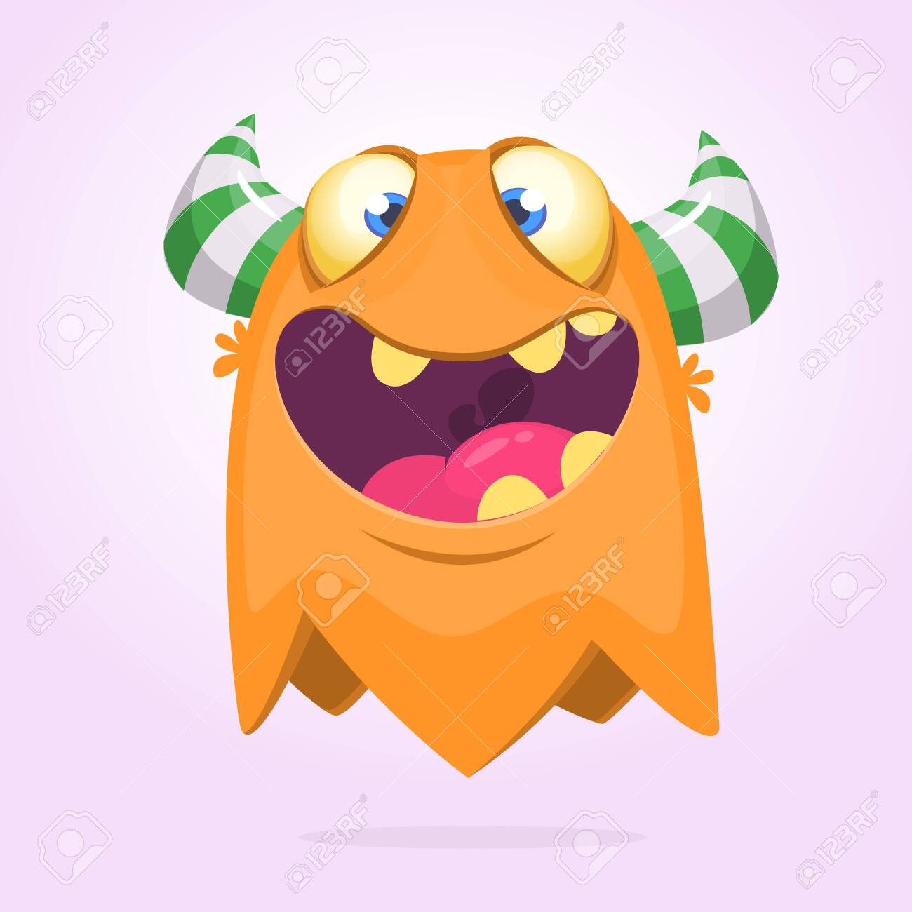 Angry Orange Cartoon Monster With Horns Big Collection Of Cute Royalty Free Cliparts Vectors And Stock Illustration Image 129251369