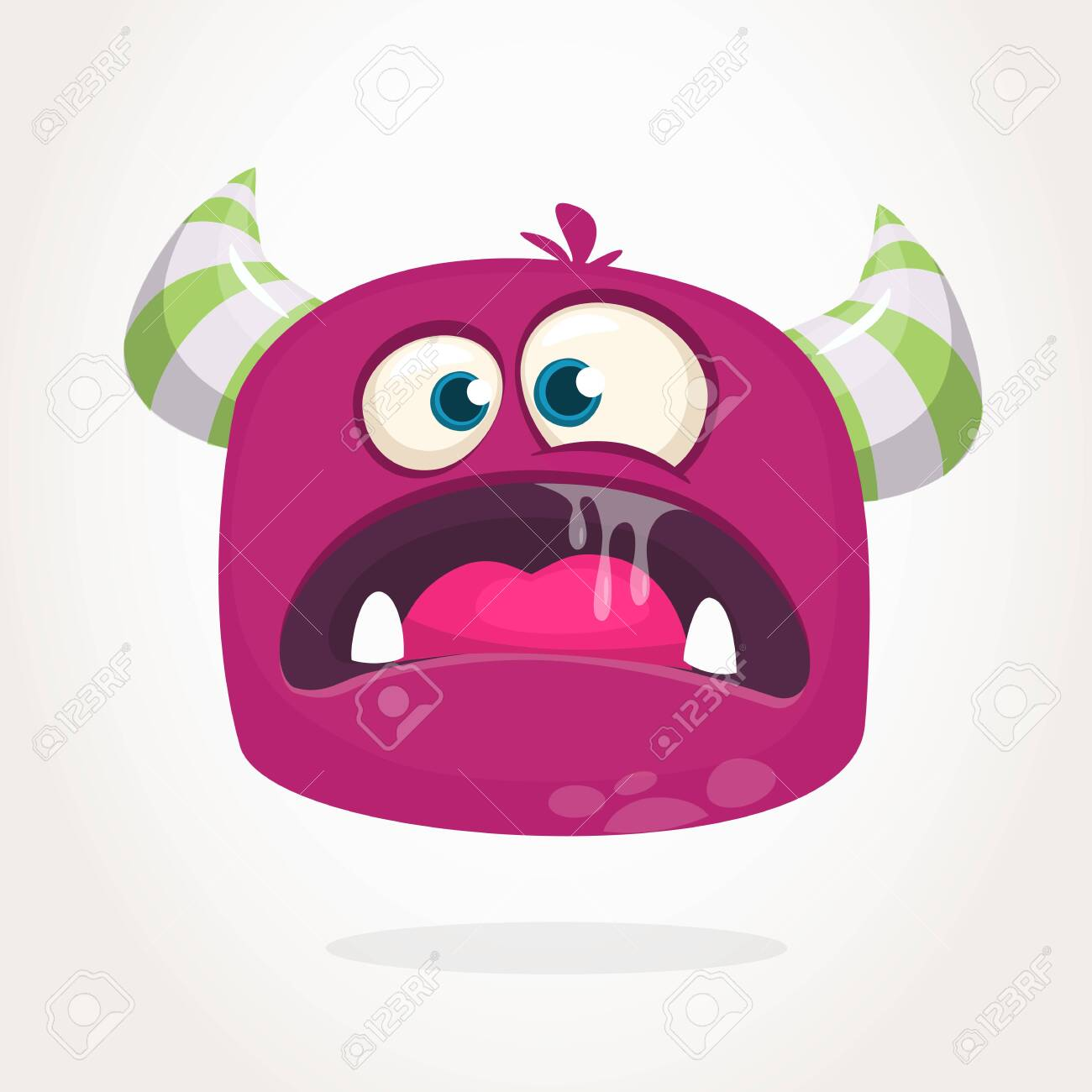 Angry Cartoon Monster With Horns Big Collection Of Cute Monsters Royalty Free Cliparts Vectors And Stock Illustration Image 141113110