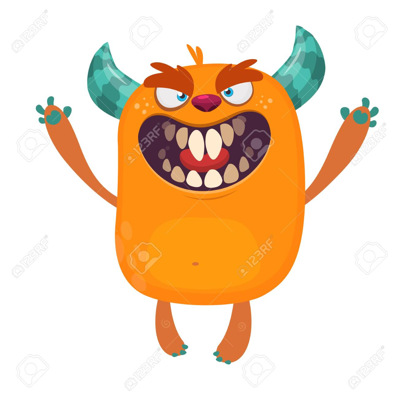 Angry Orange Cartoon Monster With Horns Big Collection Of Cute Royalty Free Cliparts Vectors And Stock Illustration Image 139216895