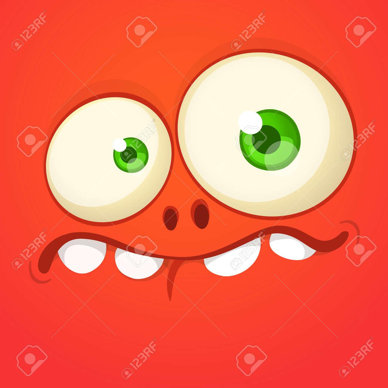 Funny cartoon monster face. Vector Halloween monster square avatar - 150903295