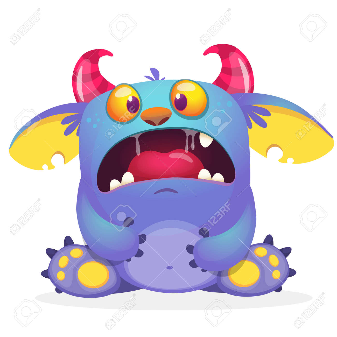 Scary cartoon monster creature. Vector illustration of angry monster. - 154691022
