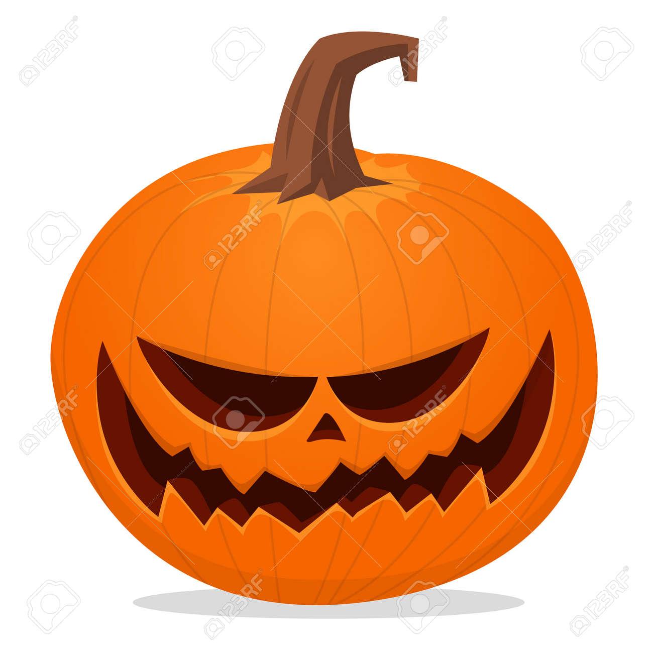 Halloween scarecrow with pumpkin head illustration. Vector cartoon carved jack-o-lantern isolated - 155387982