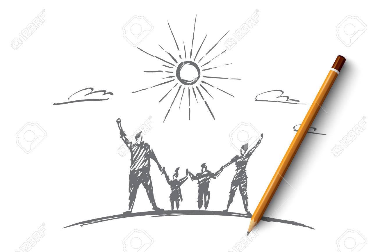 Disegno Disegnato A Mano Concetto Di Famiglia Con La Matita Su Di