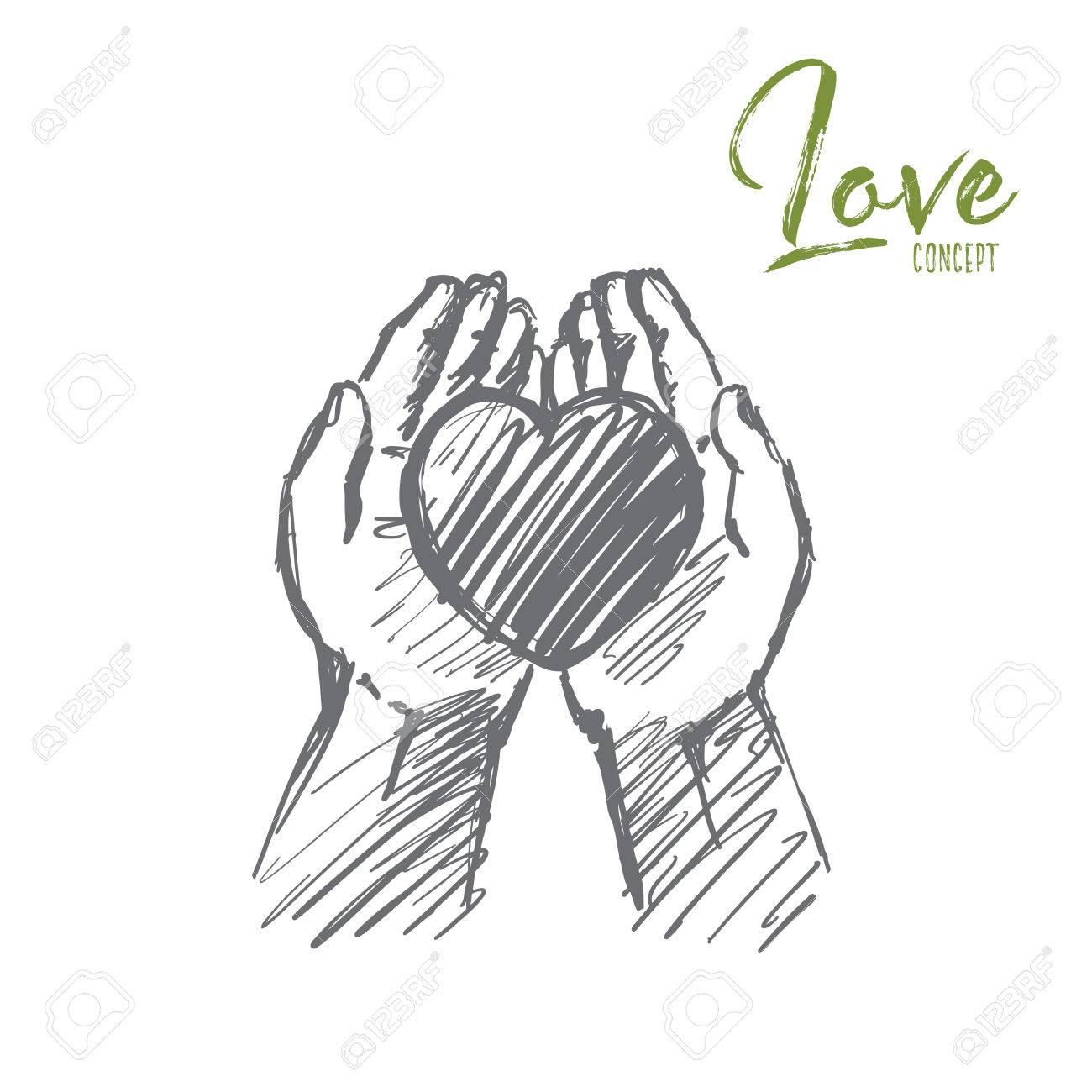 Mano De Vector Dibujado Boceto De Concepto De Amor Corazón En El