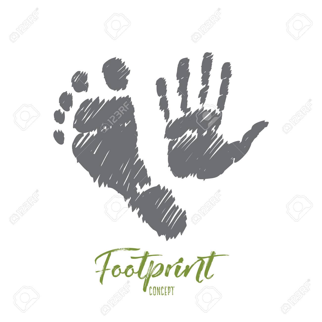 Vector Hand Drawn Footprint Concept Sketch With Prints Of Human ...