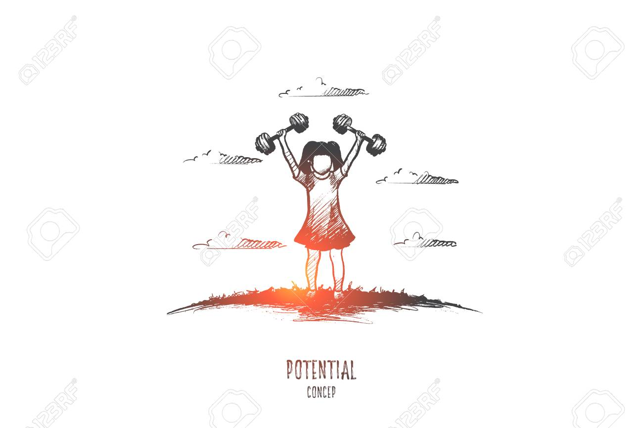 Potential Concept Hand Drawn Girl With Barbells As Symbol Of