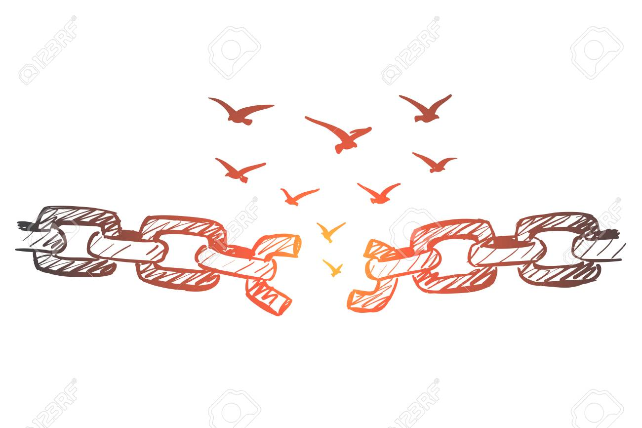 Vector Hand Drawn Freedom Concept Sketch With Broken Chain And