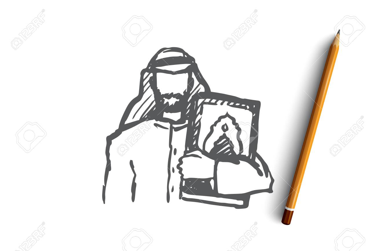 Man, Koran, religion, muslim, arabic, islam concept  Hand drawn