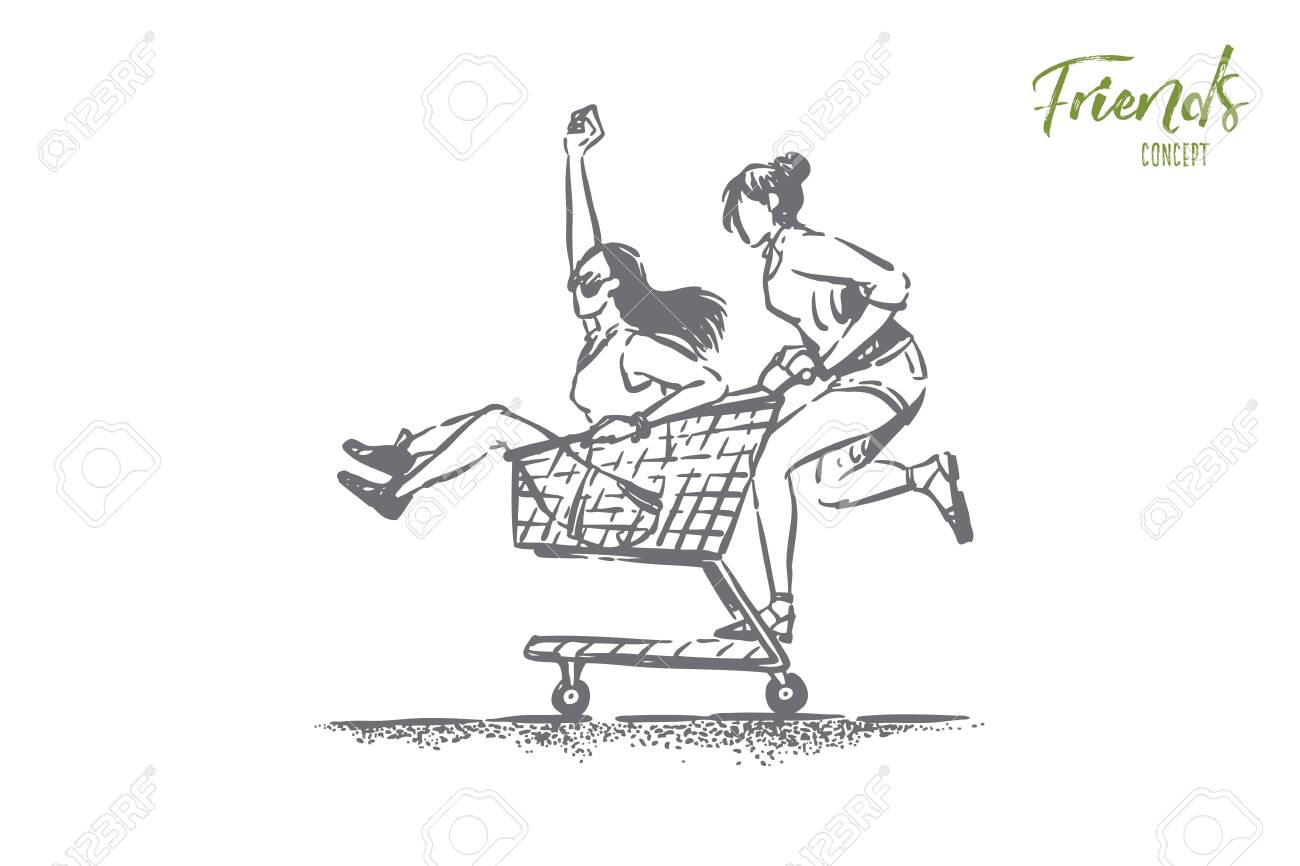 Young carefree girlfriends having fun, happy friends in summer clothes ride in shop cart, trolley, female friendship. Carefree pastime, seasonal shopping concept sketch. Hand drawn vector illustration - 124644283
