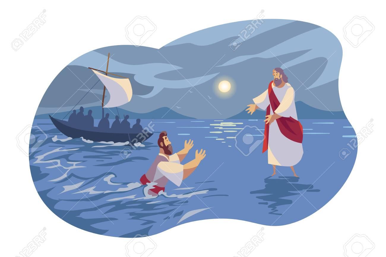 Jesus walks on water, Bible concept - 140722298