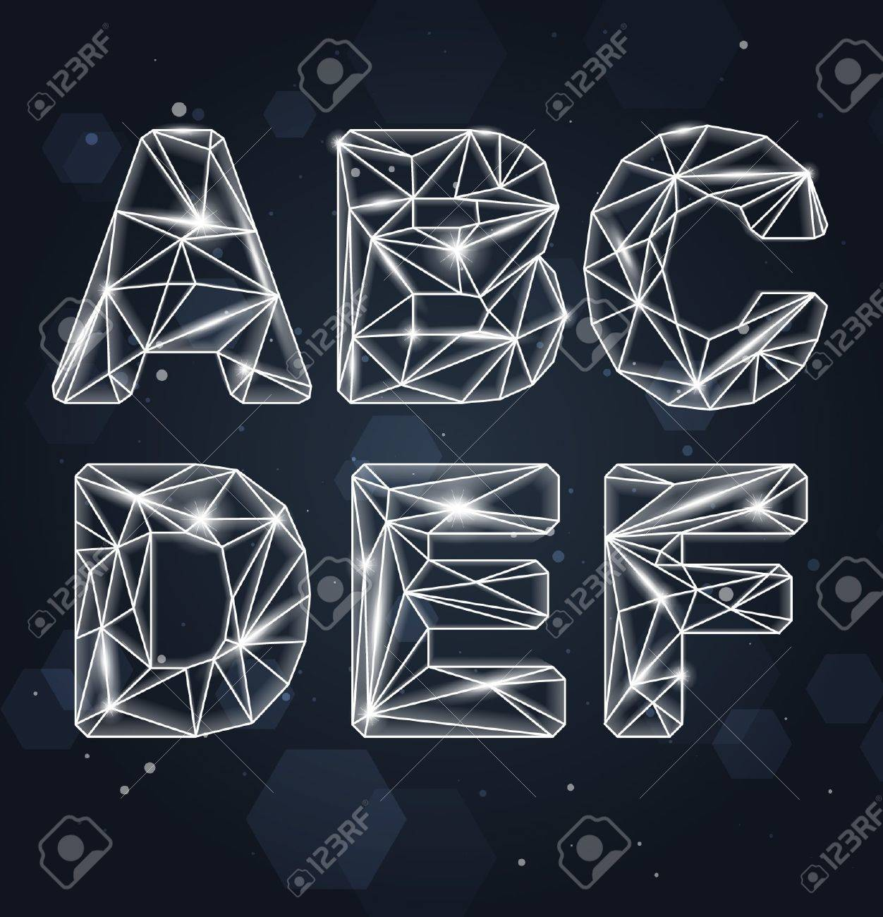 Constellation Geometric Font A-F Stock Vector - 16873010