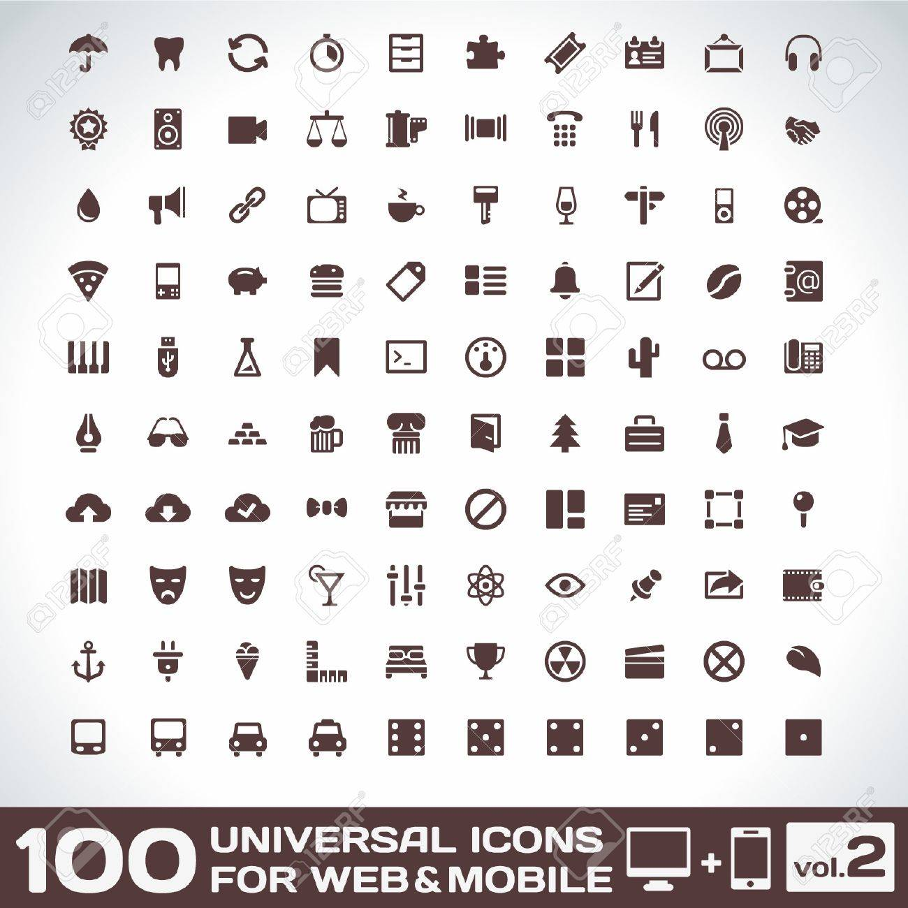 100 Universal Icons For Web and Mobile volume Stock Vector - 17366999