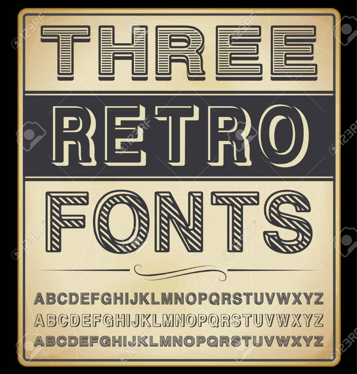 Set  Three Vintage Fonts Stock Vector - 17367000