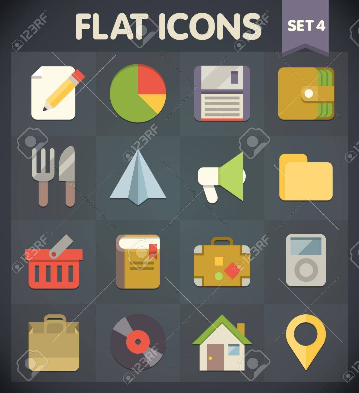 Universal Flat Icons for Web and Mobile Applications Set Stock Vector - 19508145