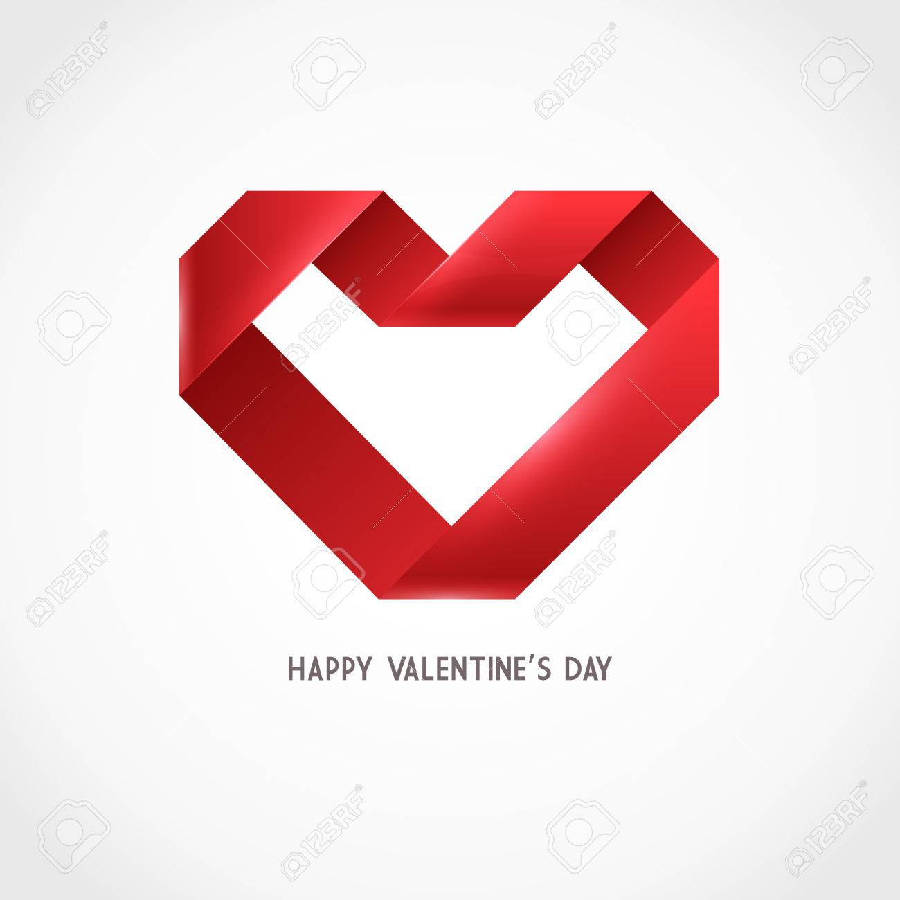 Vector Heart Ribbon Origami Logo Design Template. Valentine Day ...