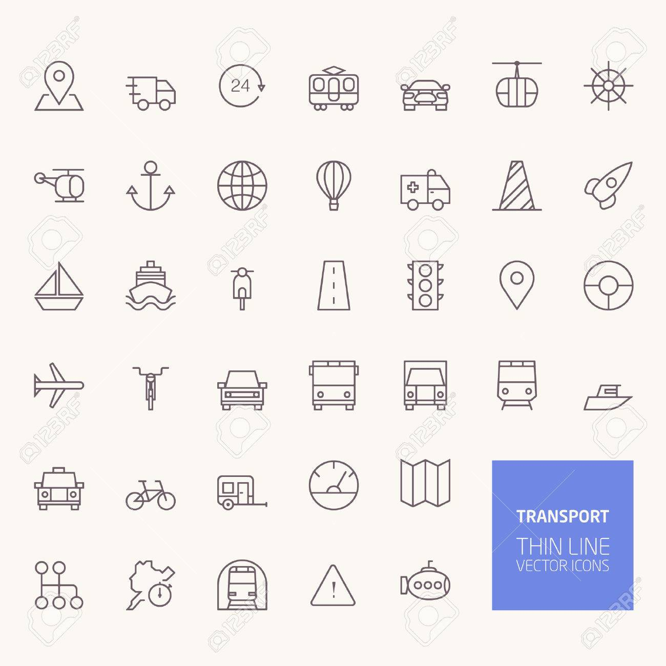 Transportation Outline Icons for web and mobile apps Stock Vector - 43949001