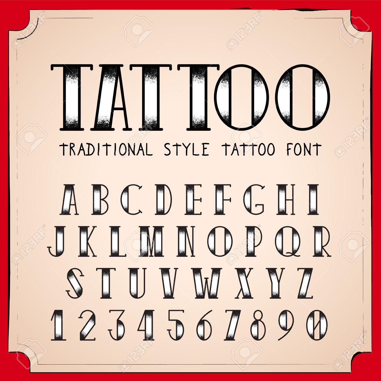Old Police De Style De Tatouage De L Ecole Vector Traditionnelle Ink Tattoo Alphabet Clip Art Libres De Droits Vecteurs Et Illustration Image 46151406